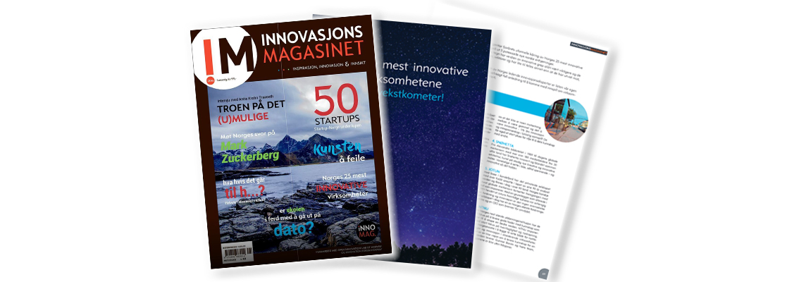"Illustrative image showing pages from the magazine ""Innovasjonsmagasinet"" - 25 most innovative companies"