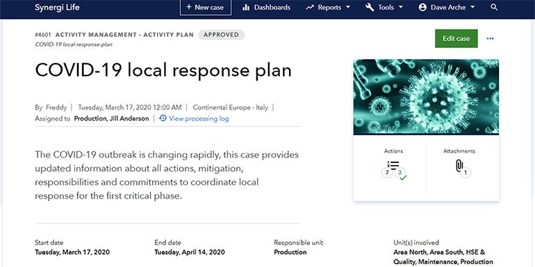 Synergi Life - Covid19 - Local response plan_770x385