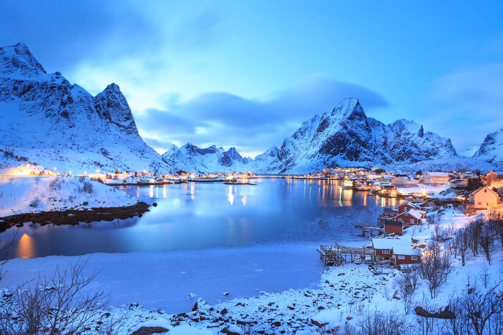 Snowcapped mountains in Lofoten, Norway