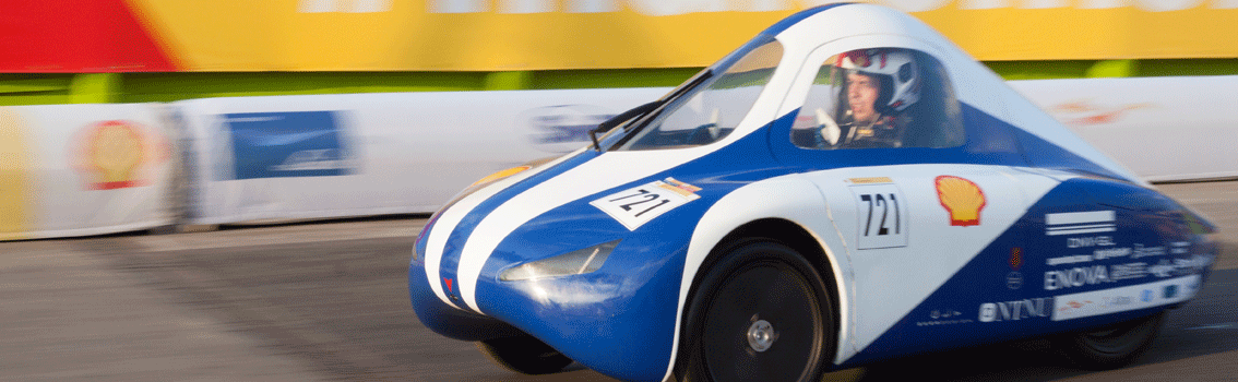 DNV GL Fuel Fighter car in action during the 2018 Shell Eco-marathon