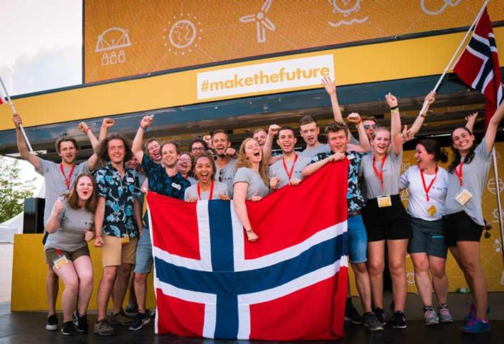 The DNV GL Fuel Fighter team celebrates after the Shell Eco-marathon
