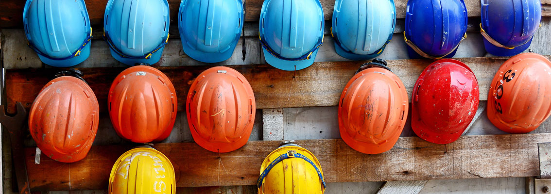 Colorful construction helmets for safety
